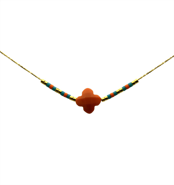collier ras de cou orange